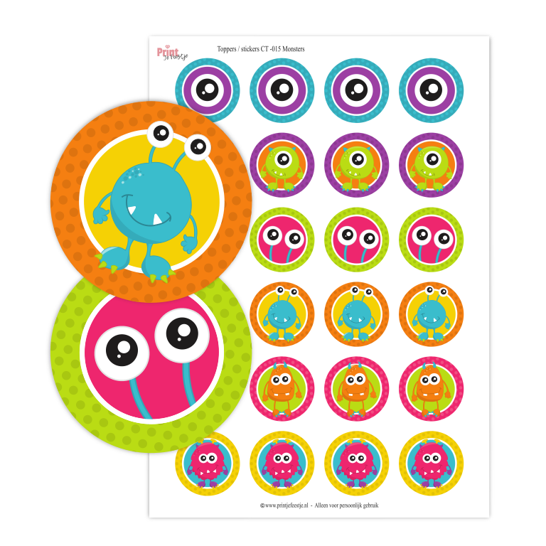 printable toppers monsters stickers - print je feestjeprinta