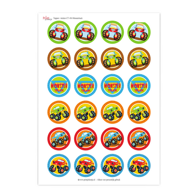 monstertruck cupcake toppers printable stickers - print je feestje