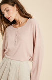 BRUSHED RIB HENLEY KNIT TOP