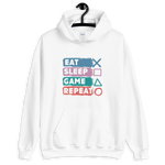 EAT SLEEP GAME REPEAT GAMING HOODIE - UNISEX HOODIE - Patch Fusion