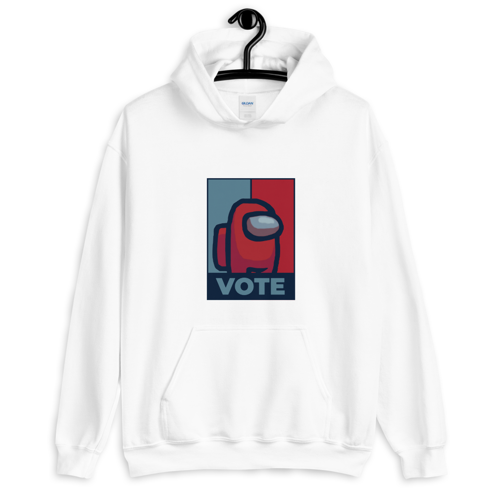 LET'S VOTE - WHITE UNISEX HOODIE - Patch Fusion
