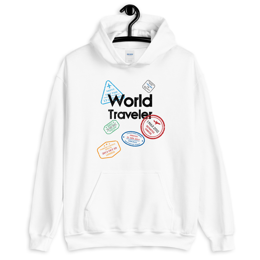 WORLD TRAVELER - WHITE UNISEX HOODIE - Patch Fusion