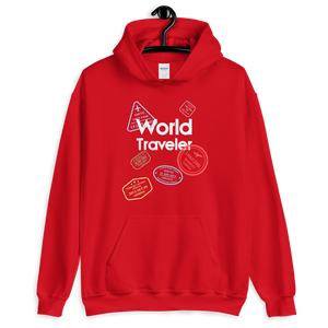 WORLD TRAVELER - RED UNISEX HOODIE - Patch Fusion