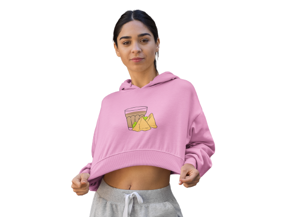 CHAI & SAMOSA - FEMALE CROP HOODIE - Patch Fusion