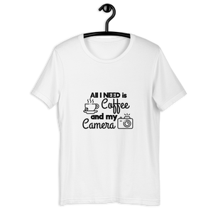 ALL I NEED IS COFFEE AND MY CAMERA T-SHIRT - Patch Fusion
