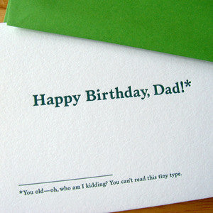 Dad Tiny Type Footnotes Card