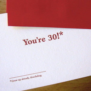You're 30 Footnotes Card