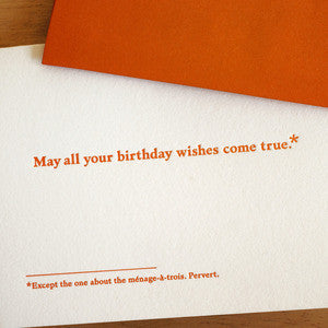 May All Your Birthday Wishes Come True Footnotes Card