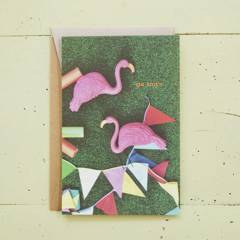Go Nuts Flamingos Foil Text Card