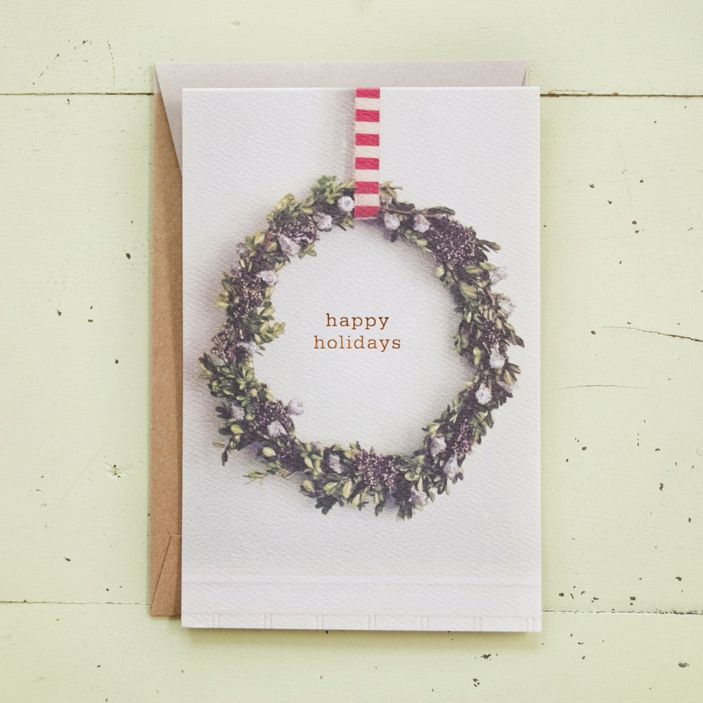 Happy Holidays Wreath Foil Text Card