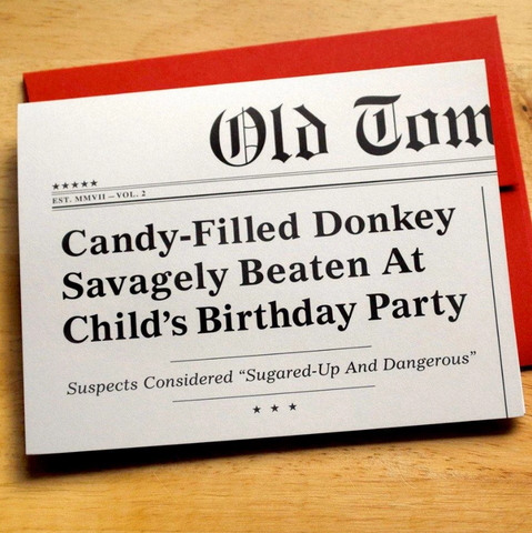 Candy-Filled Donkey Headlines Card