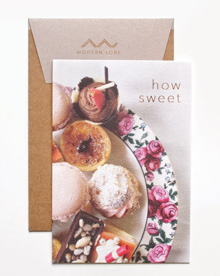 How Sweet Dessert Plate Foil Text Card