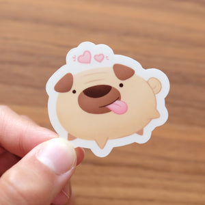 Cute funny pug dog sticker
