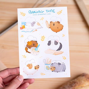 Guinea pig baking time sticker sheet