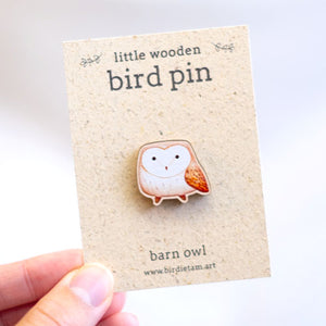 Wooden bird pin