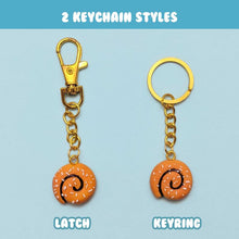 Load image into Gallery viewer, Keychain styles for miniature handmade cinnamon bun