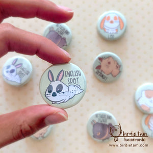 A cute drawn English Spot bunny on a magnet