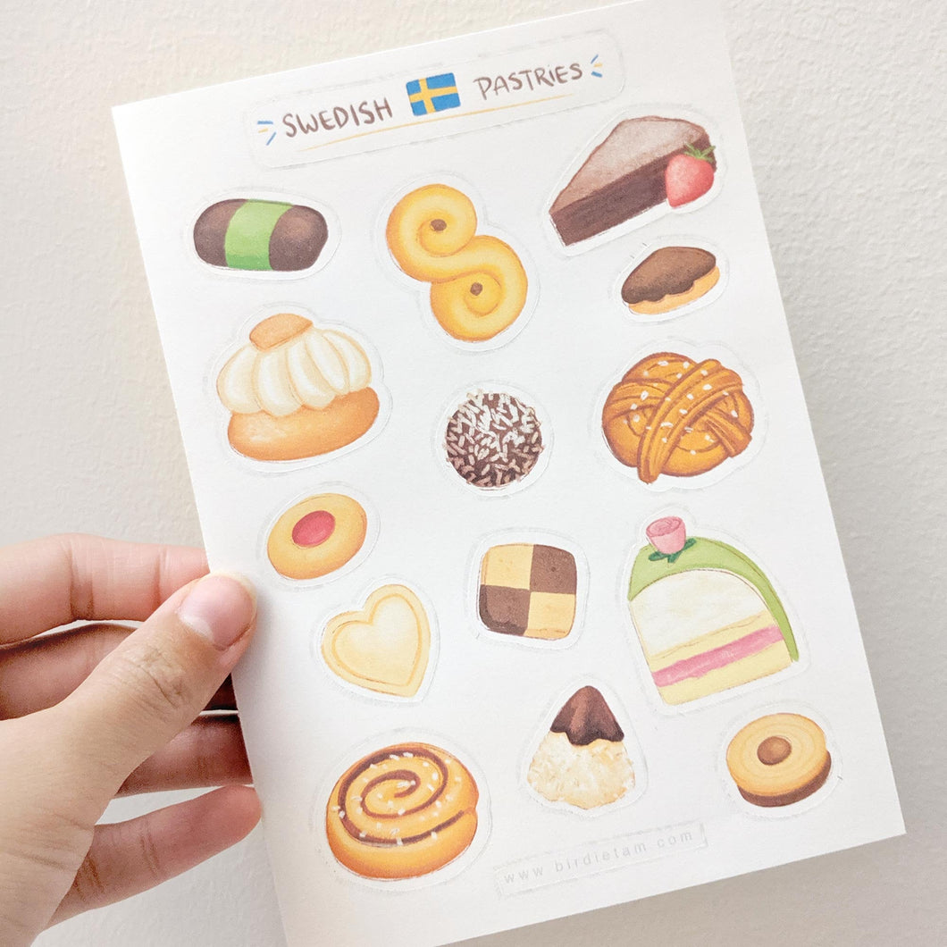 Swedish fika pastry sticker sheet