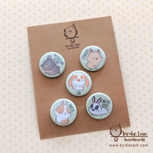 Cute bunny rabbit magnets shown with packaging