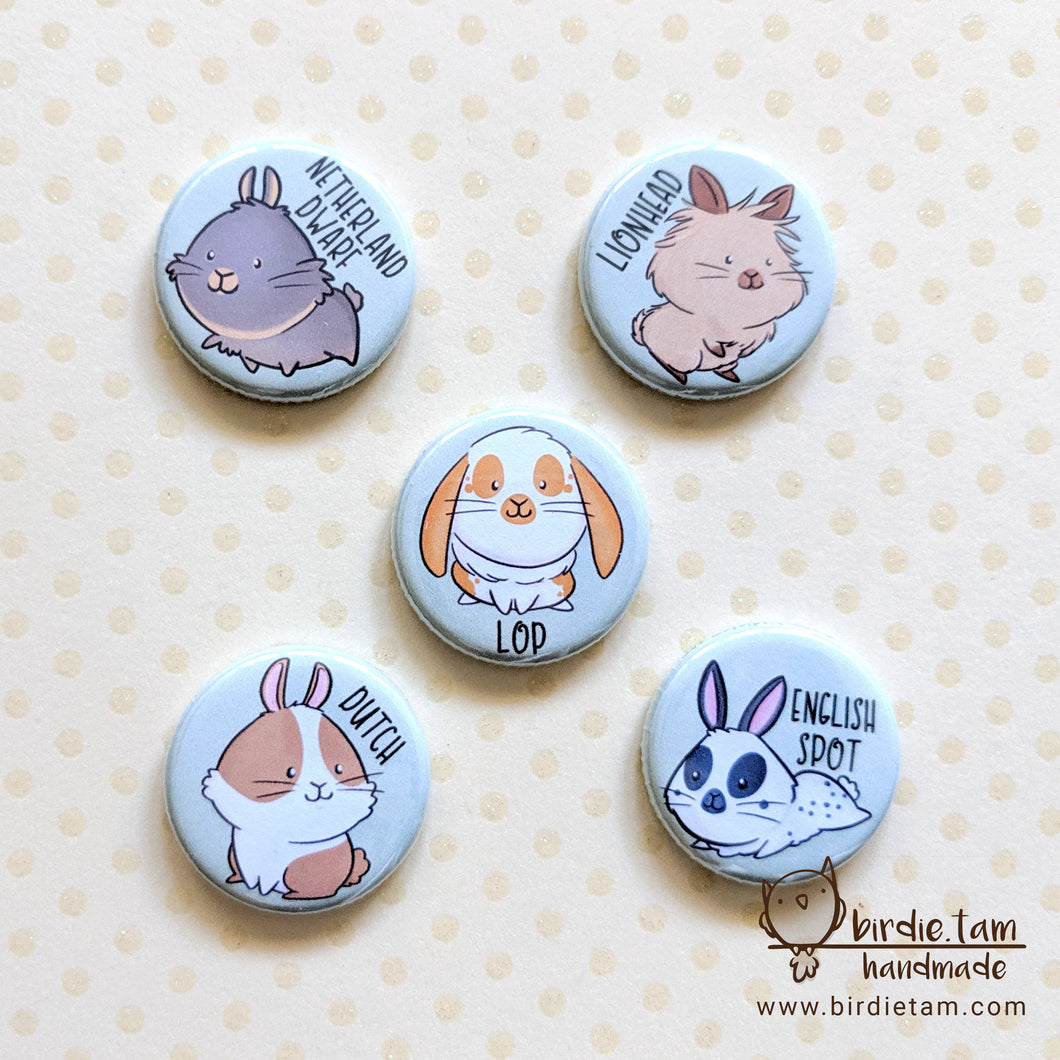 Cute illustrations of bunny rabbit on magnets and pins