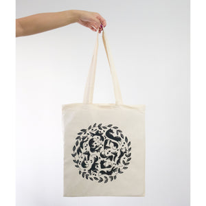 Sizing reference of screen printed fox tote bag