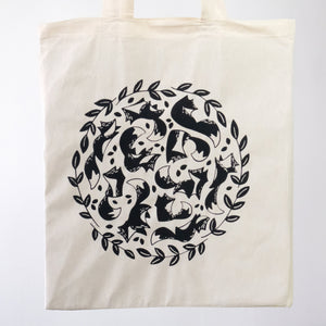 Close up of screen printed fox tote bag