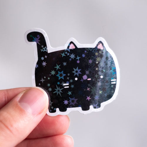 Holographic black cat sticker