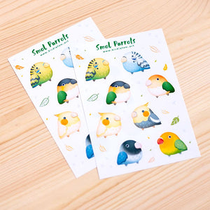 Small parrots sticker sheet