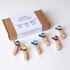 Handmade wooden clips with cute songbirds