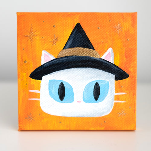 Witch cat on canvas (original)