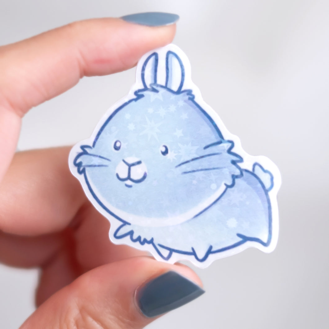Holographic snowy bunny sticker