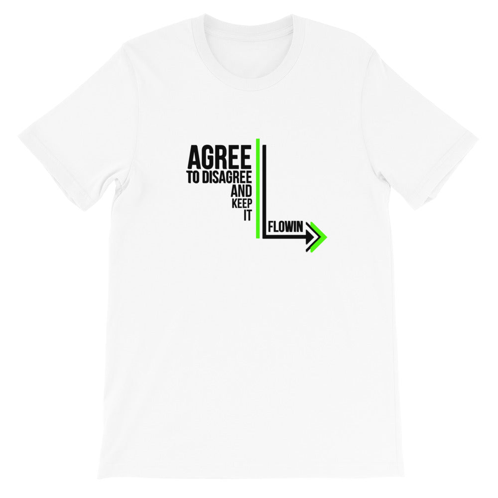 Agree to Disagree with Black Letters White Short-Sleeve Unisex T-Shirt
