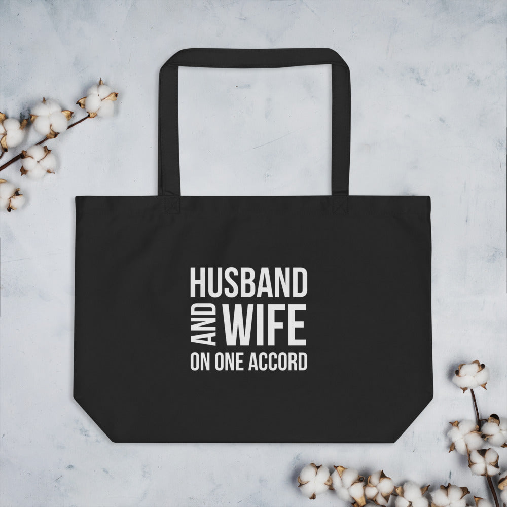 Husband and Wife On One Accord Large Black Organic Tote Bag