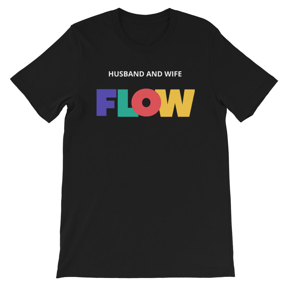 Husband and Wife Colorful Flow Black Short-Sleeve Unisex T-Shirt