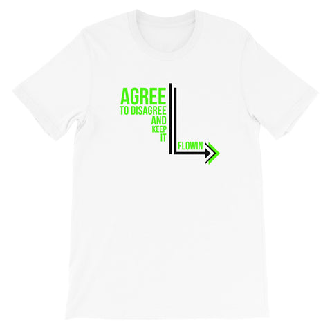 Agree to Disagree with Green Letters White Short-Sleeve Unisex T-Shirt