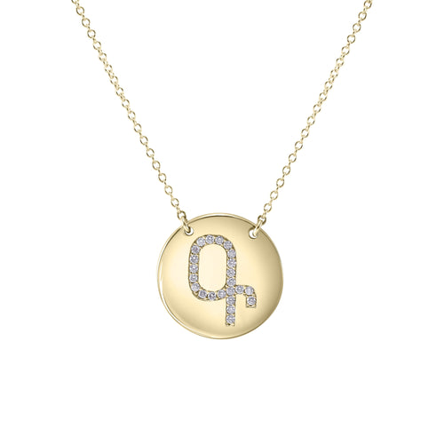 14K Gold Coin Diamond Initial Necklace