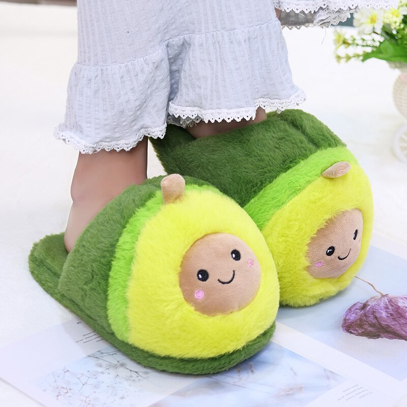 Kawaii Plush Avocado Slippers