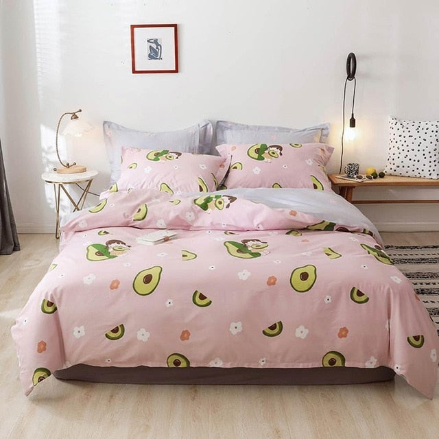 Soft Pink Avocado Duvet Set - 4 pc