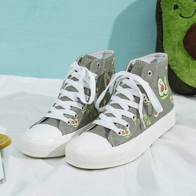 Women's Gray Avocado Canvas High Top Shoes