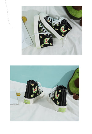 Women's Black Avocado Canvas High Top Shoes