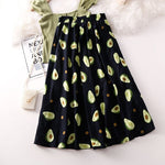 Avocado Print A-Line Skirt - Dark Blue