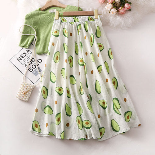 Avocado Print A-Line Skirt - White