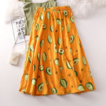 Avocado Print A-Line Skirt - Yellow