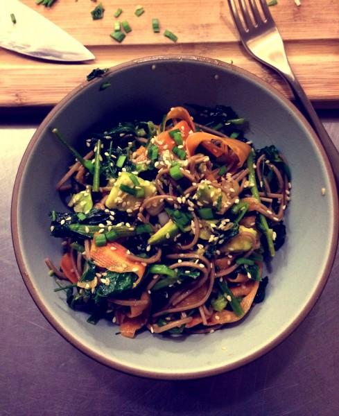 Recipe: Vegetarian Soba Noodles with Carrots, Pea Shoots and Avocado