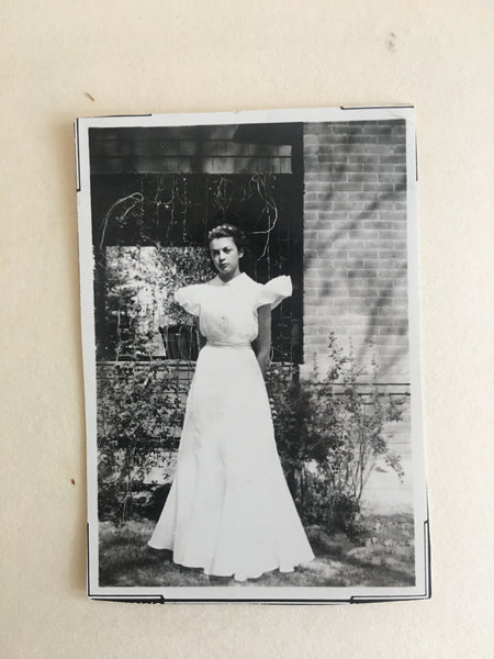 Picture of Grandma Billie in white dress when she was young