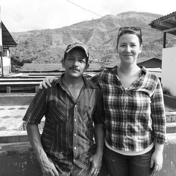 Jennifer Weir, owner of beacon coffee, on site sourcing with a coffee farmer