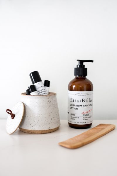 Etta + Billie geranium patchouli lotion with skin and lip balms