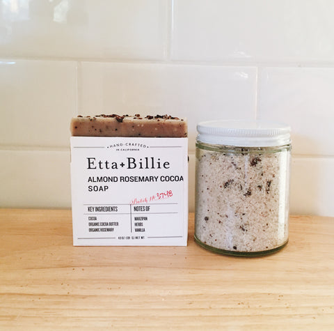 almond rosemary cocoa soap and jar of bath soak for gift set