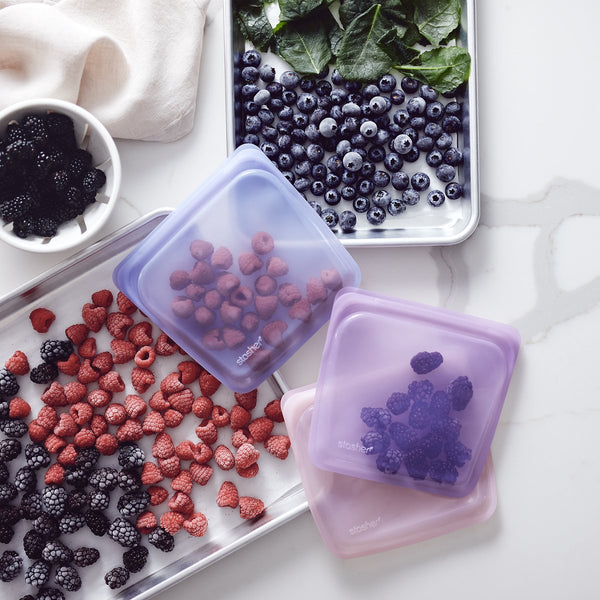 stasher bags with stored berries