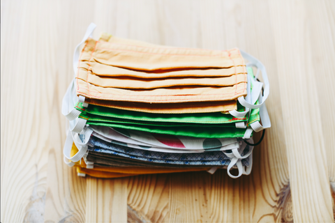Stack of cloth reusable face masks